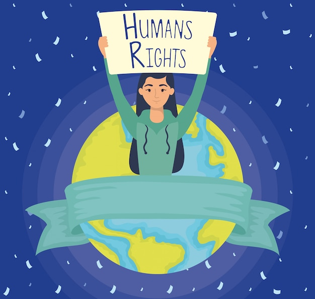 Young woman with human rights label and earth planet vector illustration design