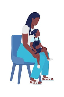 Young woman with kid semi flat color vector characters