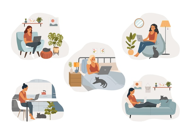 Young woman with laptop in home interior.  vector flat cartoon illustration
