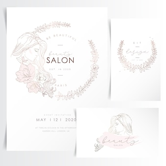 Young woman with long hair in flower wreath for event invitation template