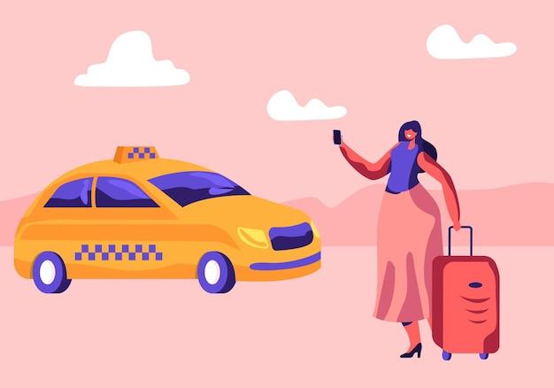 거리 전화에 서 있거나 택시를 주문하기 위해 앱을 사용하는 수하물을 가진 젊은 여자. 만화 평면 그림