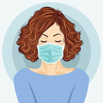 医療マスクを持つ若い女性。コロナウイルス病、covid-19。