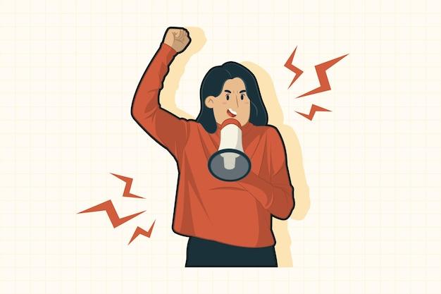Молодая женщина с мегафоном кричала