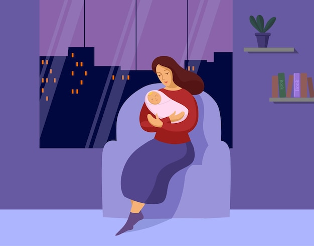 Young woman with a newborn late at night
