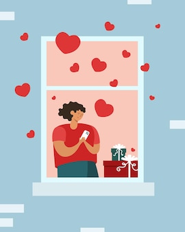 창에서 전화 온라인 가상 사랑을 가진 젊은 여자