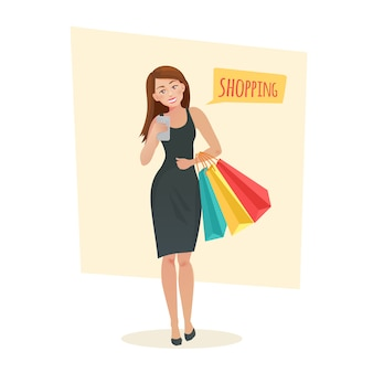 젊은 여자 쇼핑 가방.