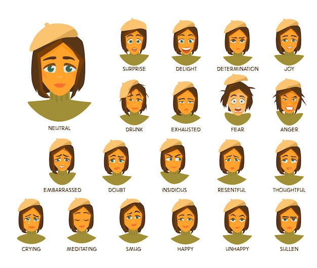Young woman with short hair in beret and sweater character's emotions. 20 face expressions with titles. cartoon vector illustration.