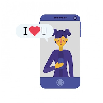 Young woman with smartphone and speech bubble