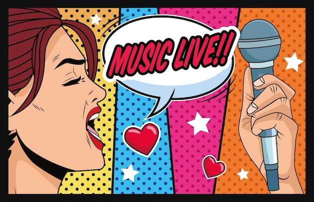 Young woman with speech bubble love music and microphone pop art style
