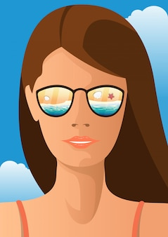 Young woman with sunglasses that reflects beach landscape. summer concept  illustration