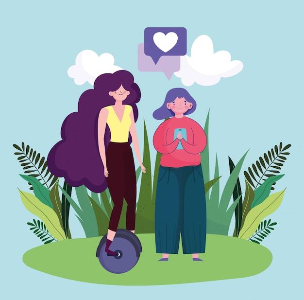 Молодая женщина с одноколесном велосипеде и девушка с смартфоном иллюстрации устройства мультфильм