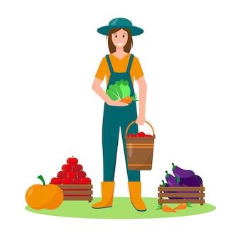 Молодая женщина с овощами. концепция садоводства, сбора урожая или сельского хозяйства. векторная иллюстрация.