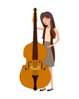 Young woman with violin character