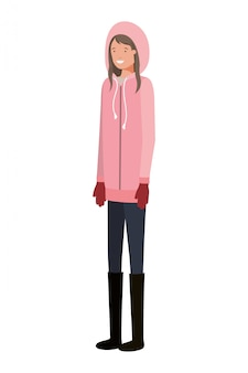 Young woman with winter clothes avatar character