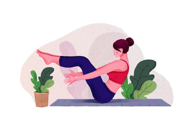 Молодая женщина женщина занимается йогой для празднования дня йоги