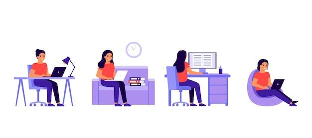 노트북이나 컴퓨터와 홈 오피스에서 젊은 여자 작업.