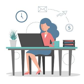 사무실에있는 컴퓨터에서 젊은 여자 작업