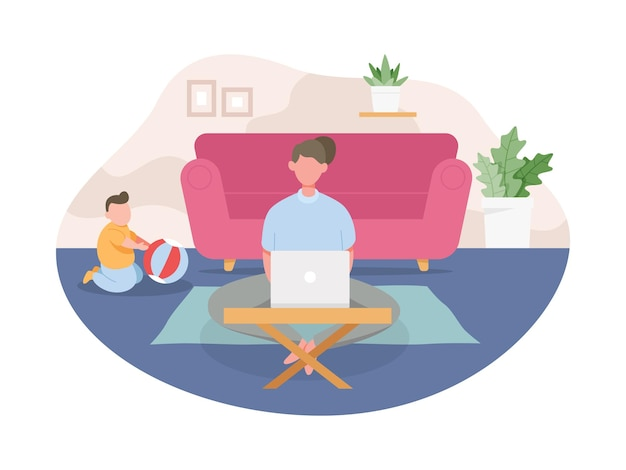 Young woman working from home. freelance working concept, people work remotely from home.