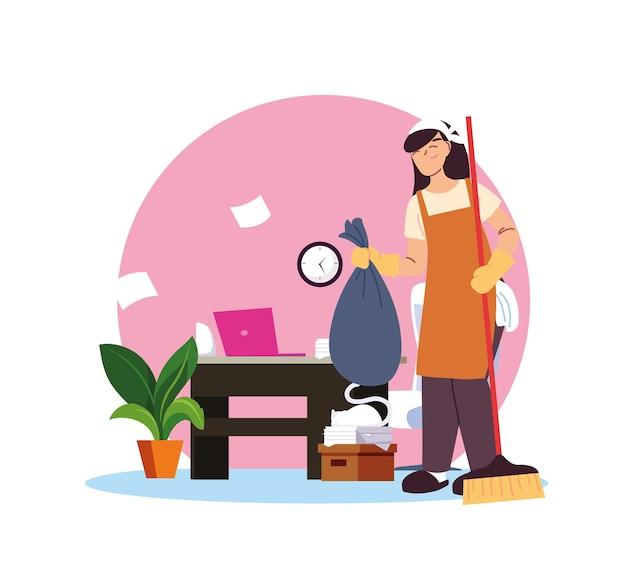 Молодая женщина, работающая в уборке дома дизайн