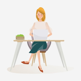Young woman working on laptop freelance job.