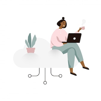 Young woman working on a laptop and sitting on a cloud. cloud storage concept illustration in flat style.