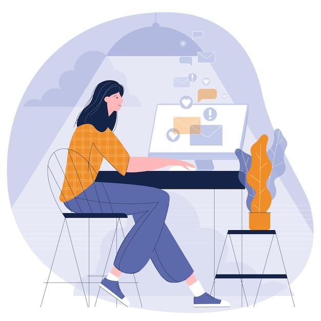 아늑한 홈 오피스 평면 디자인 컨셉 일러스트에서 원격으로 작업하는 젊은 여자