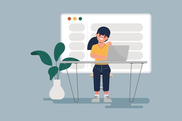 Молодая женщина, работающая с ноутбуком, отправка электронной почты