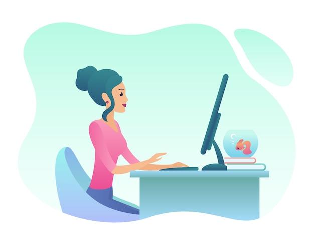 若い女性はオフィスでdesctoppcで働いています。トレンディなグラデーションカラー
