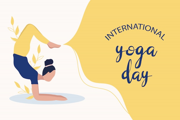 Young woman in yoga pose. international yoga day concept
