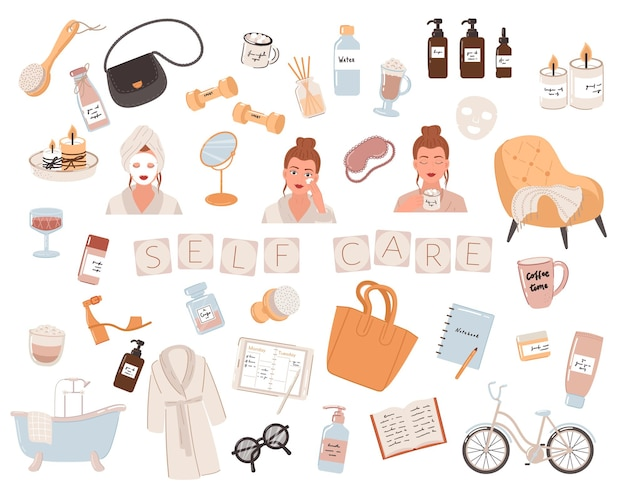 Young womans with a face mask and natural cosmetics products. self-care routine to do ideas.  illustration.
