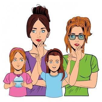 젊은 여자와 어린 소녀
