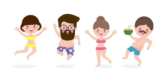 ジャンプする若い女性と男性は楽しい夏の時間を過ごします。フラット漫画の夏休み。