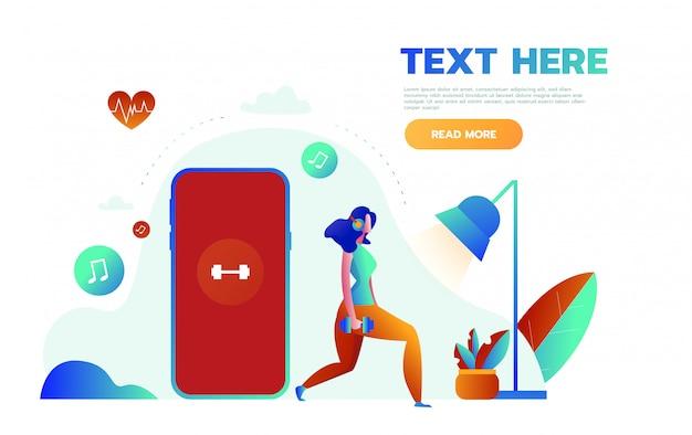 젊은 여성은 스포츠 및 피트니스 추적 심장 박동 데이터 및 맥박수 정보를 얻기위한 앱으로 큰 스마트 폰 근처에 서 있습니다.