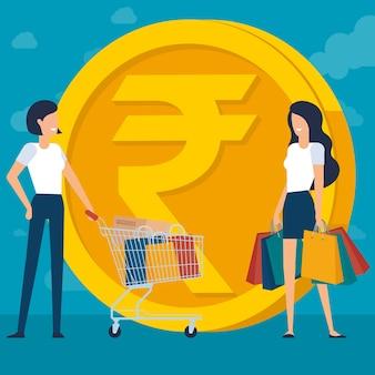 インドのルピーと澄んだ空の背景を持つフラットdesinコンセプトのショッピングで若い女性ショッピングバッグやボックスでアニメーションキャラクターやデザイン要素の準備ができて