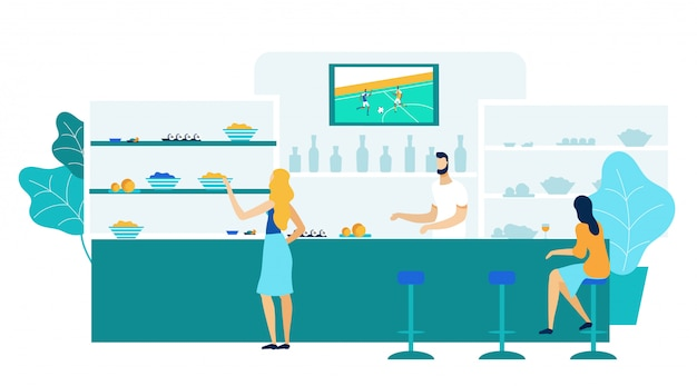 Young women in bar, pub flat illustration
