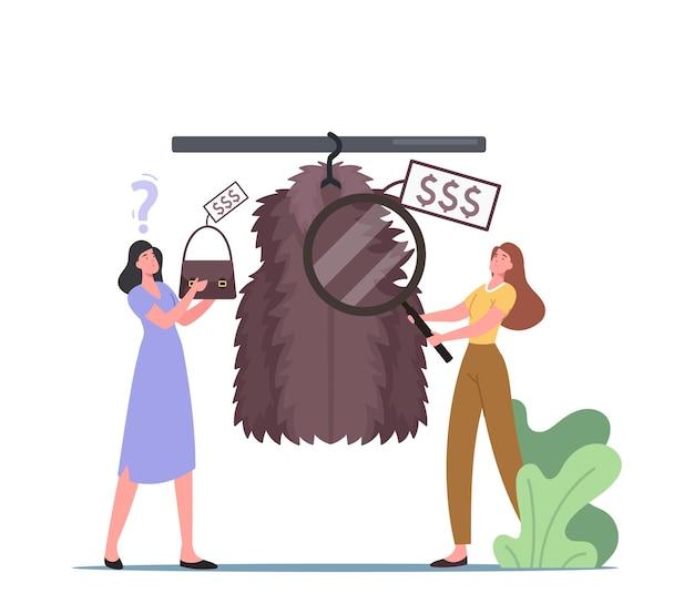 店で高価なファッションの服を選ぶ若い女性、衣服の毛皮のコートの新しいブランドコレクションを購入する金持ちのバイヤー