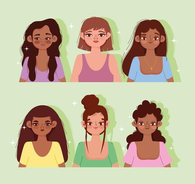 Молодые женщины культура мультфильм портрет зеленый фон