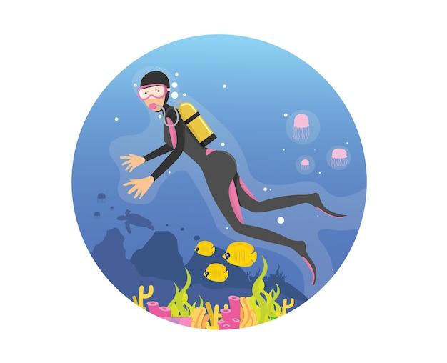 Young women diving in deep sea using scuba dive