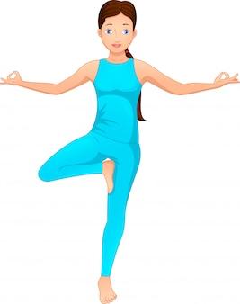 Young women doing yoga exercises