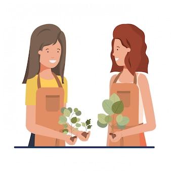 Young women gardeners smiling avatar character