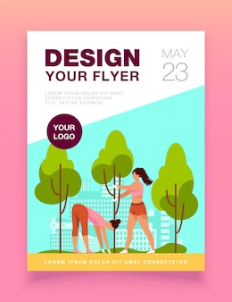 Young women growing trees in city park flyer template