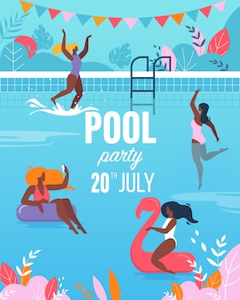 Young women having fun in swimming pool party poster