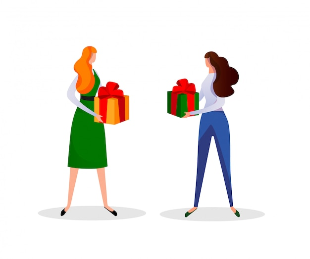 Young women holding gift boxes in hands. holiday.