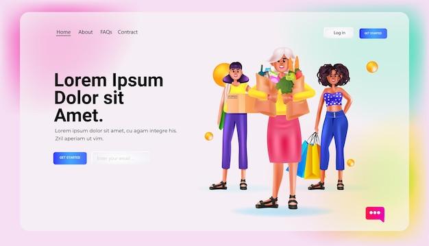食料品の袋と段ボール箱のショッピングコンセプトの完全な長さのコピースペースベクトル図を保持している若い女性