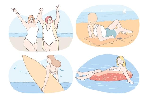 Молодые женщины в бикини загорают, плавают, занимаются серфингом, расслабляются и наслаждаются отдыхом