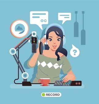 マイク、設備、テーブルの上のコーヒーと一緒にスタジオでソロポッドキャストレコーディングを行う若い女性。ポスター、ウェブサイトの画像などに使用