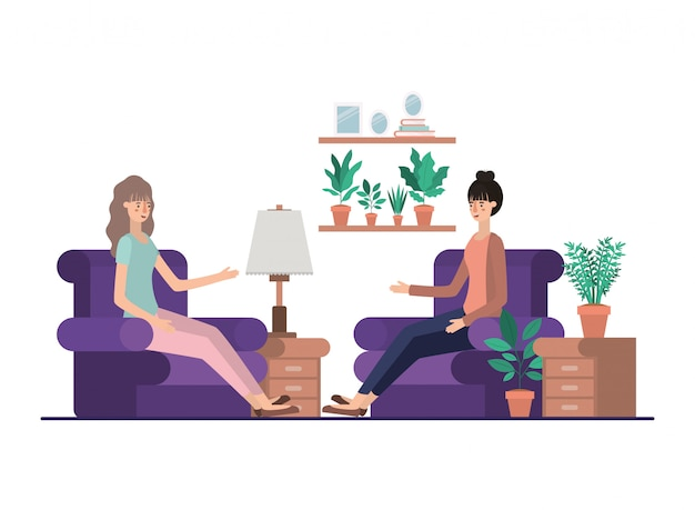 Young women in the livingroom avatar character