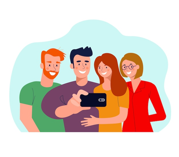 Young women and men taking selfie isolated. vector flat style illustration