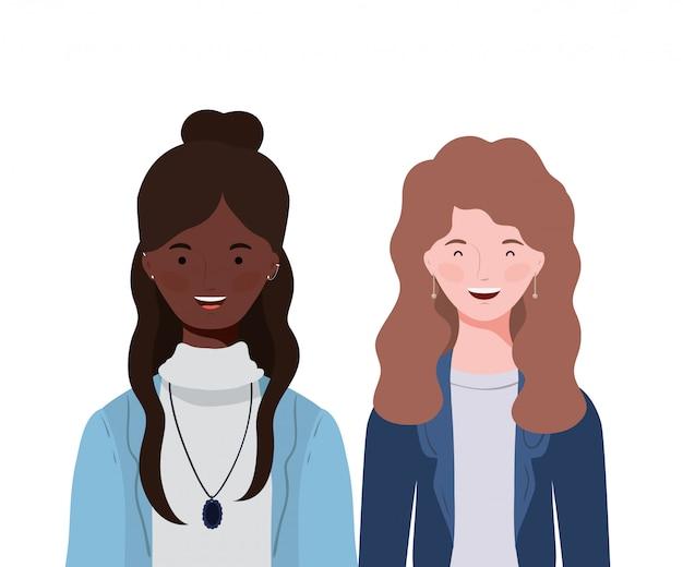 Молодые женщины на белом