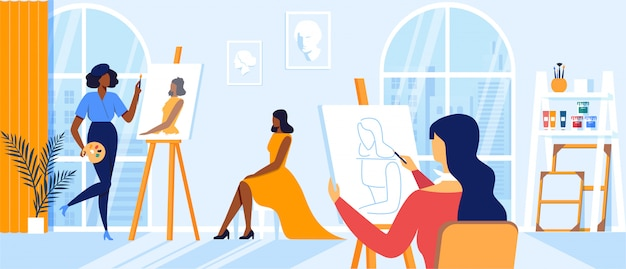 Young women painting girl model sitting on chair posing for creative workshop in large classroom. artists characters drawing on canvas at easel during art class hobby